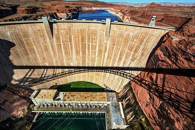 Photograph - Glen Canyon Dam With Shadow Of Glen Canyon Bridge by Phil Cardamone