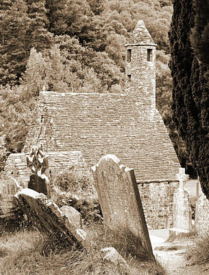 Photograph - Glendalough Ireland St Kevins Church Behind Headstones Wicklow Mountains Sepia by Shawn O'Brien
