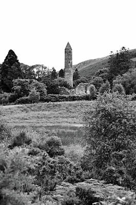 Photograph - Glendalough Irish Countryside Round Tower And Meadow County Wicklow Ireland Black And White by Shawn O'Brien