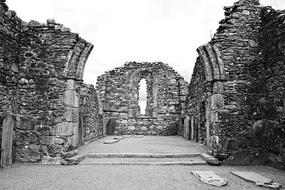 Photograph - Glendalough Irish Monastic Site Cathedral Of Saints Peter And Paul Ruins Wicklow Black And White by Shawn O'Brien