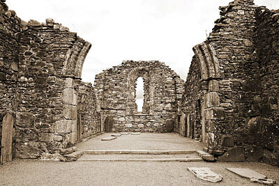 Photograph - Glendalough Irish Monastic Site Cathedral Of Saints Peter And Paul Ruins Wicklow Sepia by Shawn O'Brien