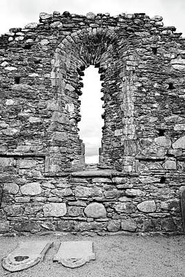 Photograph - Glendalough Irish Monastic Site Cathedral Of Saints Peter And Paul Window Wicklow Black And White by Shawn O'Brien