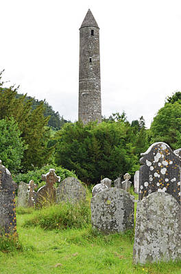 Photograph - Glendalough Irish Round Tower Above Graveyard Headstones County Wicklow Ireland by Shawn O'Brien