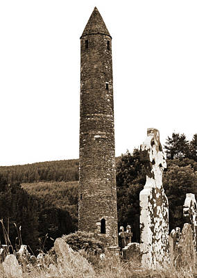 Photograph - Glendalough Round Tower And Celtic Cross Headstone County Wicklow Ireland Sepia by Shawn O'Brien