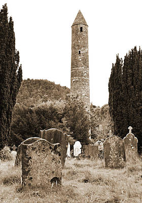 Photograph - Glendalough Round Tower Watching Over Irish Graveyard County Wicklow Ireland Sepia by Shawn O'Brien