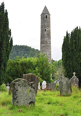 Photograph - Glendalough Round Tower Watching Over Irish Graveyard County Wicklow Ireland by Shawn O'Brien