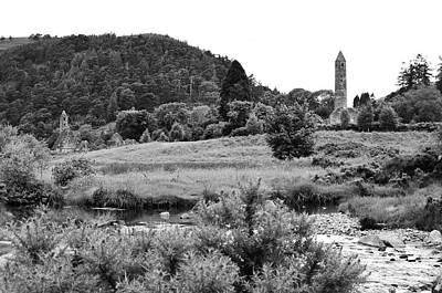 Photograph - Glendalough Settlement Stream And Meadow Wicklow Mountains Co Wicklow Ireland Black And White by Shawn O'Brien