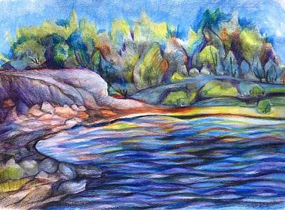 Glenmore Reservoir Drawing - Glenmore Reservoir by Anna  Duyunova