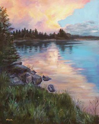 Glenmore Reservoir Painting - Glenmore Reservoir Calgary, Canada. by Ella Singer