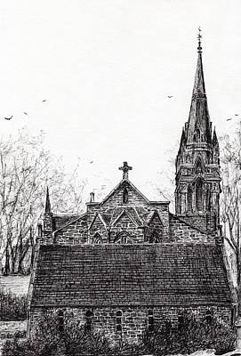 Pen And Ink Tree Drawing - Glenmuick Church by Vincent Alexander Booth