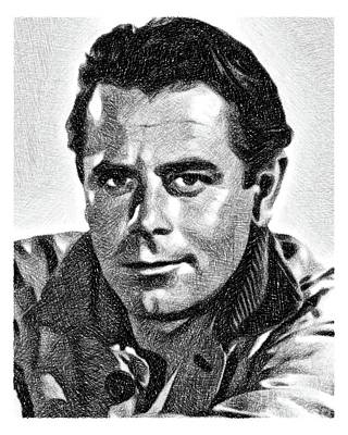 Musicians Drawings - Glenn Ford, Vintage Actor by JS by John Springfield