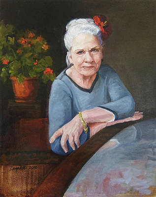Painting - Glenna With Flowers by Kathryn Donatelli