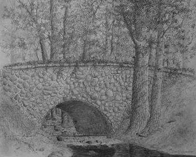 Drawing - Glenview Bridge by Jim Hubbard