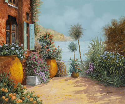 Whimsical Animal Illustrations Rights Managed Images - Gli Otri Sul Terrazzo Royalty-Free Image by Guido Borelli