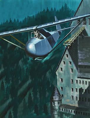 Castle Painting - Glider Escape From Colditz Castle by Wilf Hardy