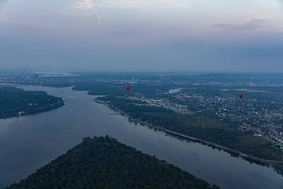 Gliding Over Ottawa River - A Hot Air Balloon Liftoff In The Morning Fog  Art Print