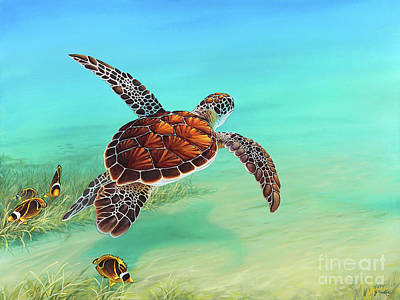 Turtle Wall Art - Painting - Gliding Through The Sea by Joe Mandrick