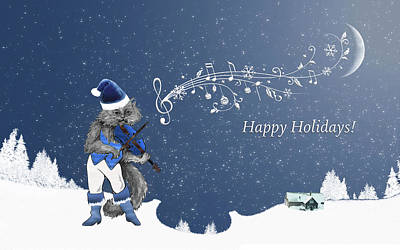 Cat Playing The Violin At Christmas Original