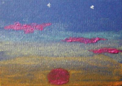 Wall Art - Painting - Glimmering Sunset by Helen Krummenacker