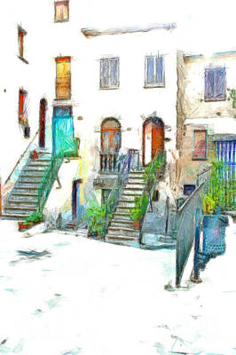 Digital Art - Glimpse Buildings With Stairs, Doors And Windows by Giuseppe Cocco