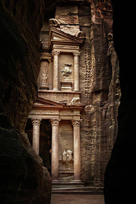 Petra Photograph - Glimpse Of Treasury by David Lazar