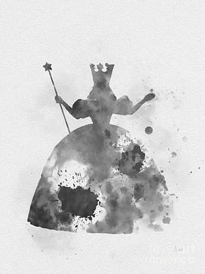 Mixed Media - Glinda The Good Witch Black And White by Rebecca Jenkins