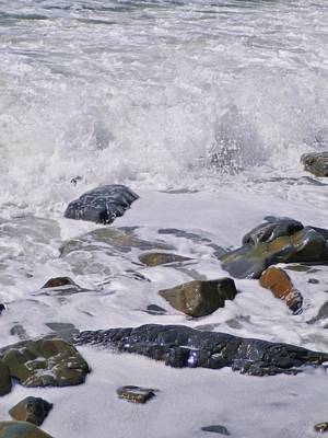 Photograph - Glistening Rocks In Foaming Surf At Duckpool Cornwall by Richard Brookes