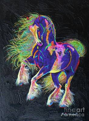 Tinkered Mixed Media - Glitter And Gold Pony by Louise Green