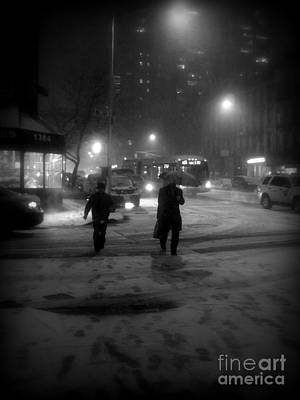 Photograph - Glitter In The Gutter - Hurrying Home - Winter In New York by Miriam Danar
