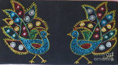Glitter Peacock Art Print