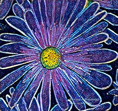 Crystalline Mixed Media - Glittering Flower by Rizwana Mundewadi