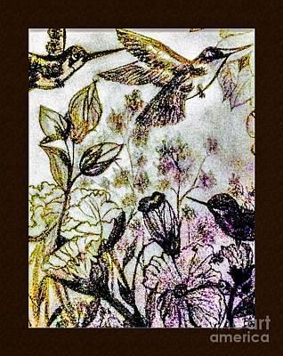 Matting Drawing - Glittering Hummingbirds by Debra Lynch