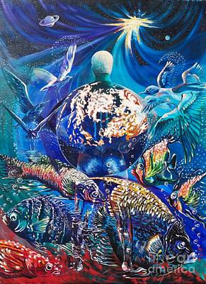Painting - Blue Cat Productions.  Earth - Our Family Tree by Sigrid Tune