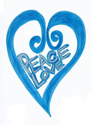Drawing - Global Peace And Love Heart by Marlene Rose Besso