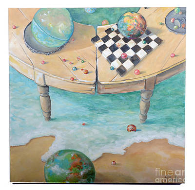 Marble Chess Boards Painting - Global Strategy by Lynda McLaughlin
