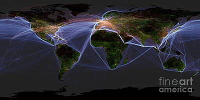 Photograph - Global Transportation Map by Felix PD and Globaia