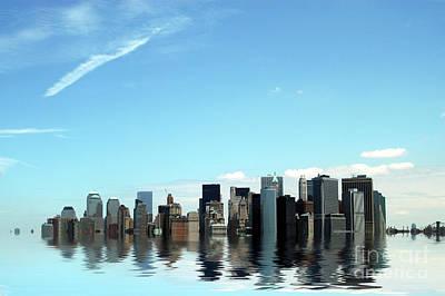 Global Warming Causing Flooding In Manhattan. Art Print