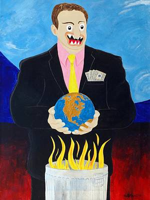 Funism Painting - Global Warming Truth by Sal Marino