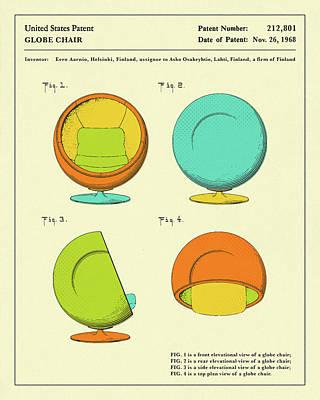 Chairs Digital Art - Globe Chair 1968 by Jazzberry Blue