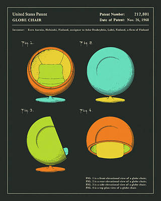 Chairs Digital Art - Globe Chair Patent 1968 by Jazzberry Blue