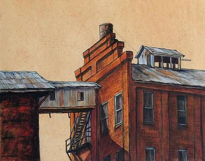 Brick Building Painting - Globe Mills Walkway by Candy Mayer
