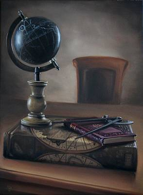 Globe On The Antique Book Original by Vitaly Borisenko
