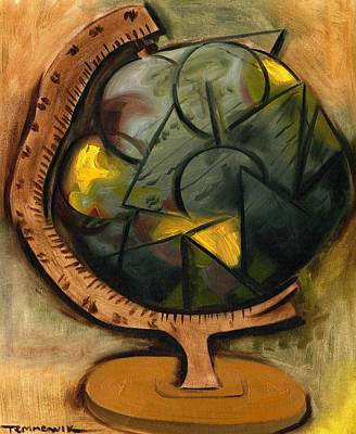 Painting - Abstract Cubism World Globe Art Print by Tommervik
