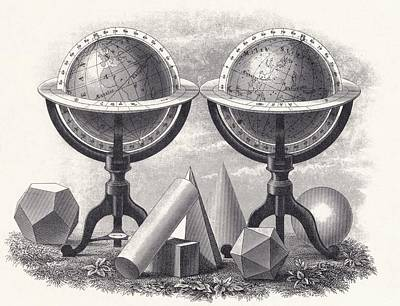 Geometrical Drawing - Globes Of The Earth And The Heavens by Vintage Design Pics