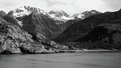 Photograph - Tidal Inlet In Glacier Bay  Black And White by Judy Wanamaker