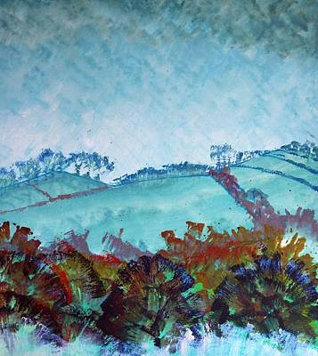 Painting - Gloomy Overcast Cloudy Day Devon Rolling Hills by Mike Jory