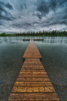 Print featuring the photograph Gloomy Rainy Day On Norbury Lake by Darcy Michaelchuk