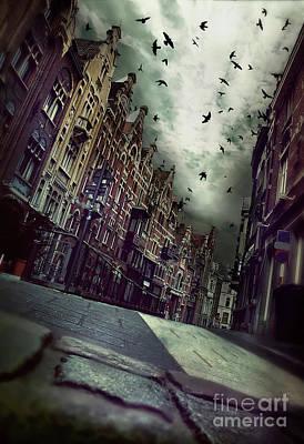 Gloomy  Street With Birds In Sky  In City  Ghent, Belgium  Art Print by Natalia Moroz
