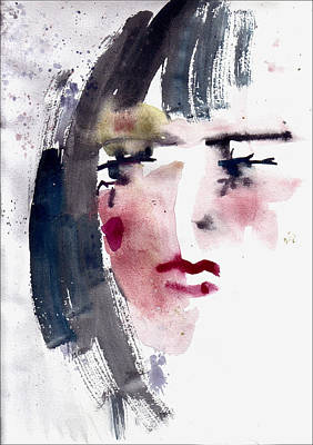 Art Print featuring the painting Gloomy Woman  by Faruk Koksal