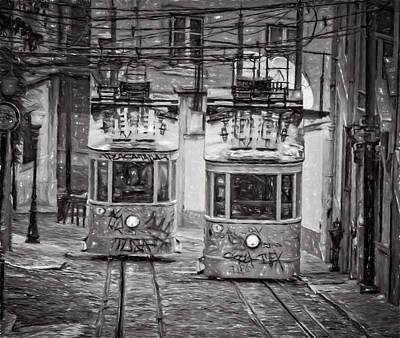 Funicular Photograph - Gloria Funicular Lisbon Bw by Joan Carroll